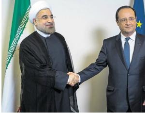La poignée de main entre le président Hassan Rohani et le président François Hollande