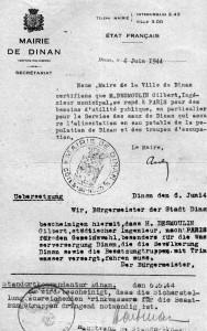 6 juin 1944 – Autorisation donnée à Gilbert Desmoulin de se rendre à Paris pour passer un examen à l'Institut d'Urbanisme
