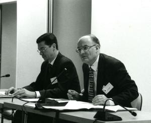 Pierre Baudin, à droite, et Bruno Théret, en 1998