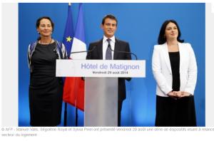 Manuel Valls, Ségolène Royal et Sylvie Pinel le 29 août 2014