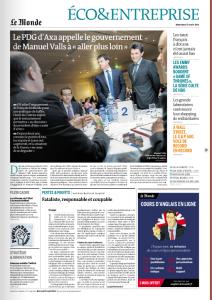 """La Une du Monde """"Eco et Entreprise"""" daté du 27 août 2014"""