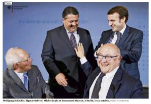 Wolfgang Schäuble, Sigmar Gabriel, Michel Sapin, Emmanuel Macron à Berlin le 20 octobre