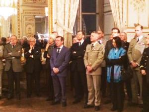 de g à dr, M.Desmoulin, président d'honneur, le président Fohlen Weill, Mme de Monicault, le président de l'AA-CHEAR M. Faure