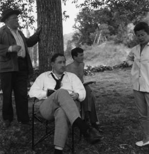 Philippe Noiret et Claude Rich en tournage dans le Lot