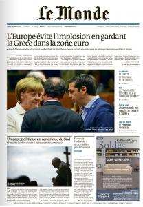 La cover du Monde du 14 juillet 2015