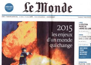 La Une du Monde le 2 janvier 2015