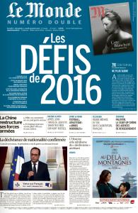 La Une du Monde du 2 janvier 2016