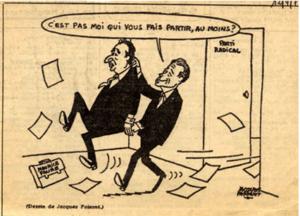 Le dessin de Faizant représentant JJ-SS chassant Maurice Faure