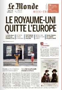 Le Royaume Uni quitte l'Europe